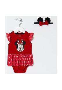 Vestido Body Infantil Minnie Com Sainha De Tule E Faixa De Cabelo - Tam 0 A 18 Meses | Teddy Boom (0 A 18 Meses) | Vermelho | 6-9M