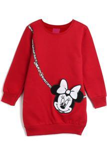 Vestido De Moletom Disney Infantil Minnie Vermelha