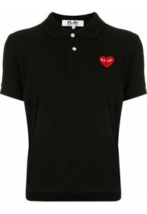 Comme Des Garçons Play Camisa Polo Com Patch De Logo - Preto