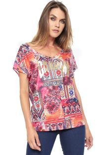 Camiseta Carmim Print Rosa