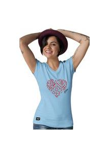 Camiseta Feminina Gola V Cellos Heart Premium Azul Claro