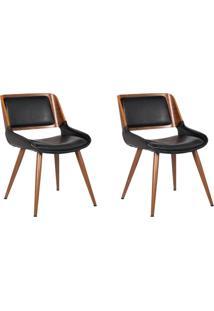 Kit 02 Cadeiras Decorativas Escritã³Rio Recepã§Ã£O New Design Pã©S Madeira Preta - Gran Belo - Preto - Dafiti