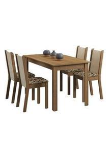 Conjunto Sala De Jantar Madesa Bea Mesa Tampo De Madeira Com 4 Cadeiras Rustic/Crema/Bege Marrom Rustic