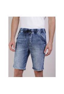 Bermuda Jeans Masculina Em Moletom Relaxed Com Bolsos Azul