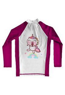 Camiseta De Lycra Comfy Unicórnio Rosa