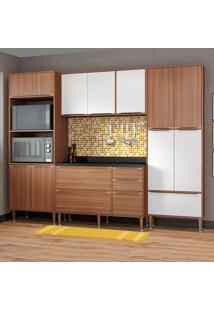 Cozinha Compacta Calábria Com Tampo 13 Portas Nogueira/Branco - Multimóveis