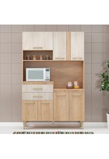 Cozinha Compacta Dora 7 Portas Carvalho/Blanche - Fellicci