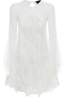 Vestido Babados Curto - Branco