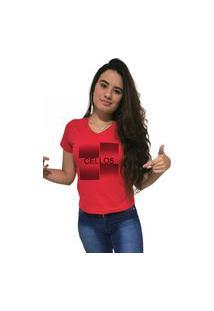 Camiseta Feminina Gola V Cellos Degradê Premium Vermelho