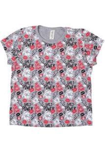 Camiseta Girls Power Grupo Avenida Feminina - Feminino-Mescla