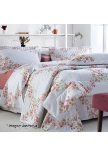 Edredom Primavera Floral King Size - Branco & Coral Sultan