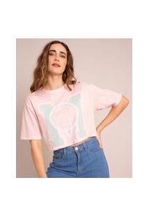 Camiseta Cropped Oversized De Algodão Planeta Terra Manga Curta Decote Redondo Ciclos Rosa Claro