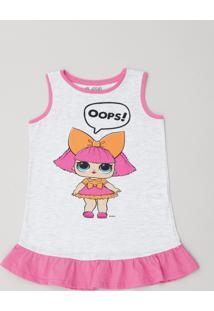 4112355a9b Camisola Infantil Lol Surprise Com Glitter E Babado Sem Manga Cinza Mescla  Claro