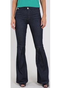 Calça Jeans Feminina Flare Com Prega Azul Escuro