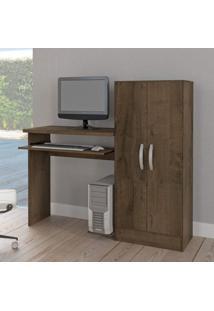 Mesa Para Computador Com Armário 2 Portas Irlanda Atualle Móveis Mocaccino Rústico