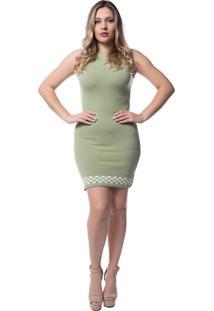 Vestido Officina Do Tricô Modal Barra Xadrez 7511 Verde Crochê