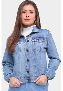 Jaqueta Jeans Ex Adverso Básica Feminina - Feminino-Azul Claro