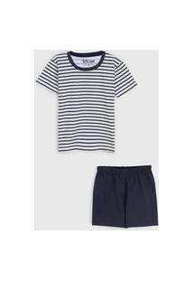 Pijama Tricae Curto Infantil Listrado Branco/Azul-Marinho