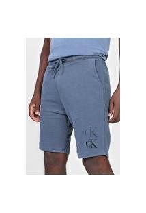 Bermuda De Moletom Calvin Klein Jeans Reta Logo Azul-Marinho