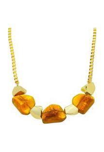 Colar Dourado Com Pedras De Resina Na Cor Marrom.