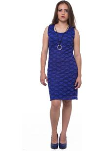 Vestido Amollite Curto Rendado Azul