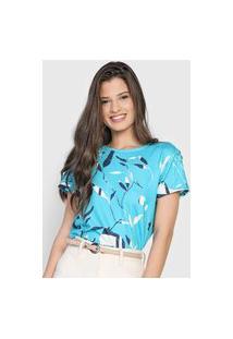 Camiseta Dimy Floral Azul/Off-White