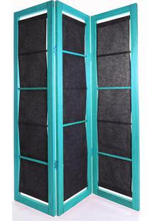 Biombo De Madeira Em Tecido Dominoes Stain Azul T02- 150X3,5X179 Cm