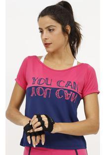 Camiseta Com Micro Furos & Inscriã§Ãµes- Rosa & Azul Marinpatra