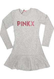 Vestido Peplum Pinkx Em Malha Canelada Decote Costas E Aplicação De Glitter Cinza
