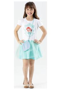 Vestido Infantil Ariel Brilho Bolsa Disney