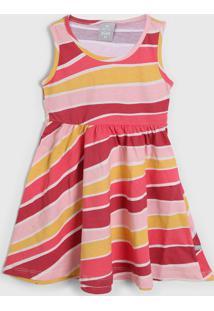Vestido Hering Kids Infantil Listrado Rosa/Amarelo