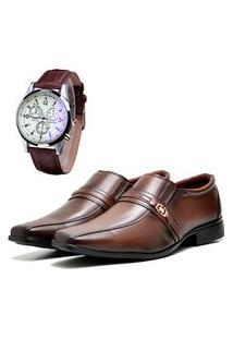 Sapato Social Elegant Com Relógio Dubuy 806La Marrom