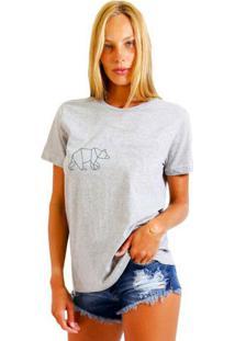 Camiseta Feminina Joss Urso Cinza