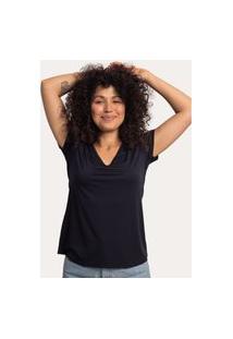 Camiseta Decote V Em Modal Preta Preto