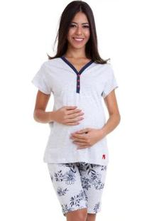 Pijama Capri Gestante Estampado Luna Cuore Feminino - Feminino-Cinza