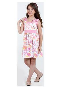 Vestido Infantil Estampa Floral Bela Disney