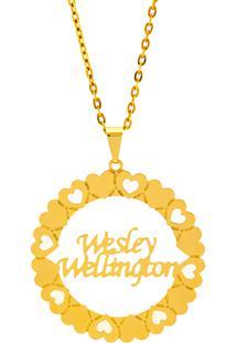 Gargantilha Mandala Horus Import Manuscrito Wesley - Wellington Banho Ouro Amarelo 18 K - 1060185