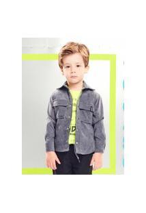 Camisa Infantil Cinza Em Veludo Cotelê Youccie