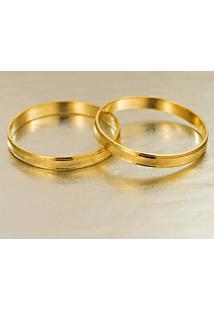 Aliança De Ouro Concava Fosca Com Coração Vazado - As1278 + As1279