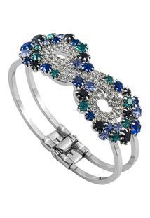Bracelete Com Pedras Tudo Joias Folheado A Ródio - Feminino-Prata