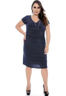 Vestido Azul Poá Plus Size