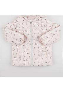 Jaqueta Infantil Estampada De Lhama Com Capuz E Bolsos Rosa Claro