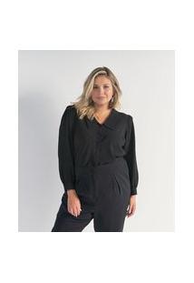 Camisa Manga Bufante Em Crepe Sem Estampa Curve & Plus Size | Ashua Curve E Plus Size | Preto | Eg