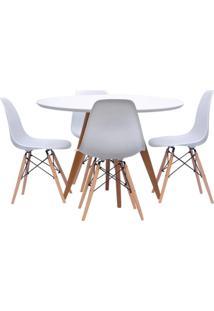 Conjunto Mesa Square Redonda 88Cm Com 4 Cadeiras Eiffel - Branco
