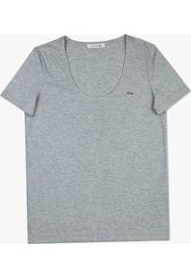 Camiseta Lacoste Em Jérsei Cinza