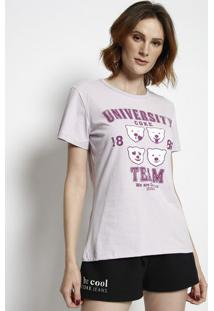 "Camiseta ""University Coke Team""- Lilã¡S & Roxa- Coca-Coca-Cola"