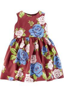 Vestido Nenê Land Floral Sem Mangas Marrom