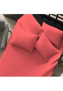 Lençol Avulso Portallar Queen Malha Liso Linha Casa Rosa Coral