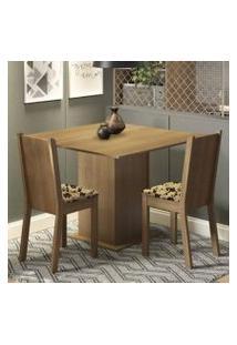 Conjunto Sala De Jantar Madesa Isa Mesa Tampo De Madeira Com 2 Cadeiras Rustic/Bege Marrom
