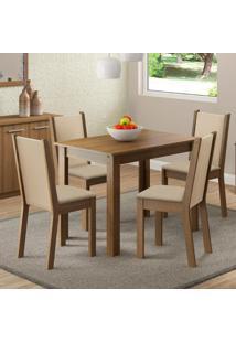 Sala De Jantar Cíntia Mesa Com 4 Cadeiras Rústico/ Crema/ Pérola